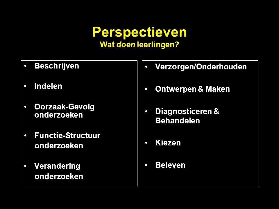 Perspectieven Wat doen leerlingen? Beschrijven Indelen Oorzaak-Gevolg onderzoeken Functie-Structuur onderzoeken Verandering onderzoeken Verzorgen/Onde