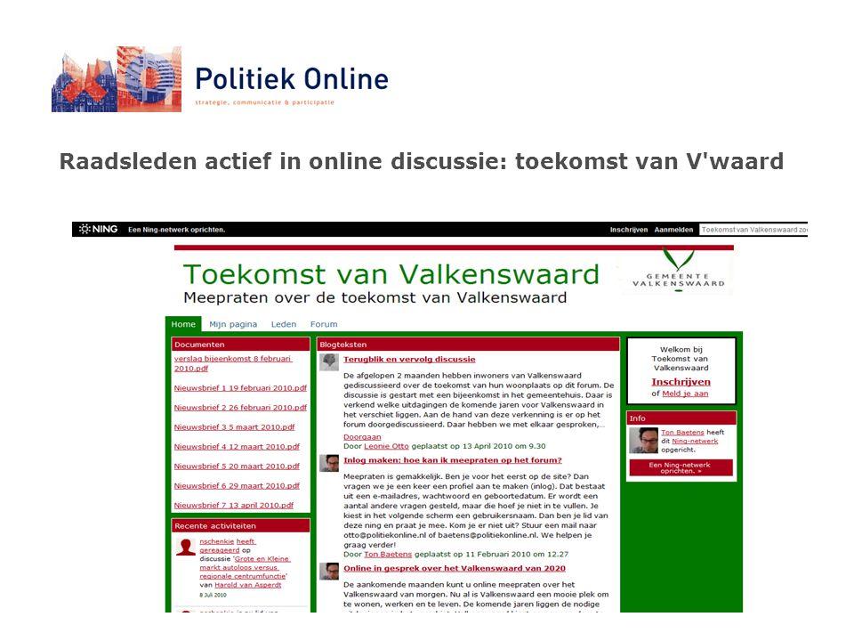 Raadsleden actief in online discussie: toekomst van V waard