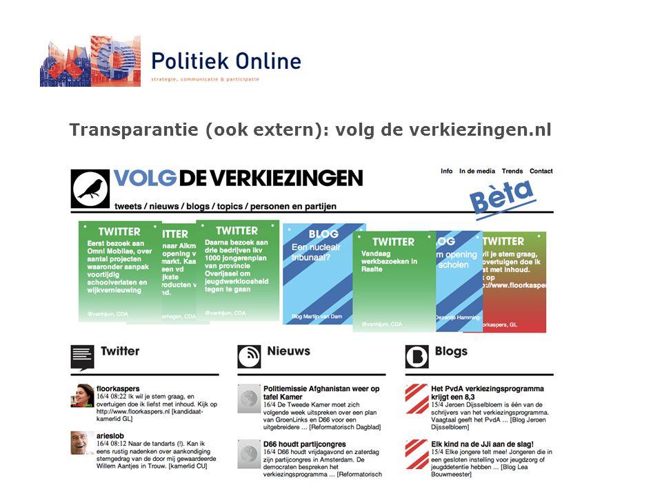 Transparantie (ook extern): volg de verkiezingen.nl