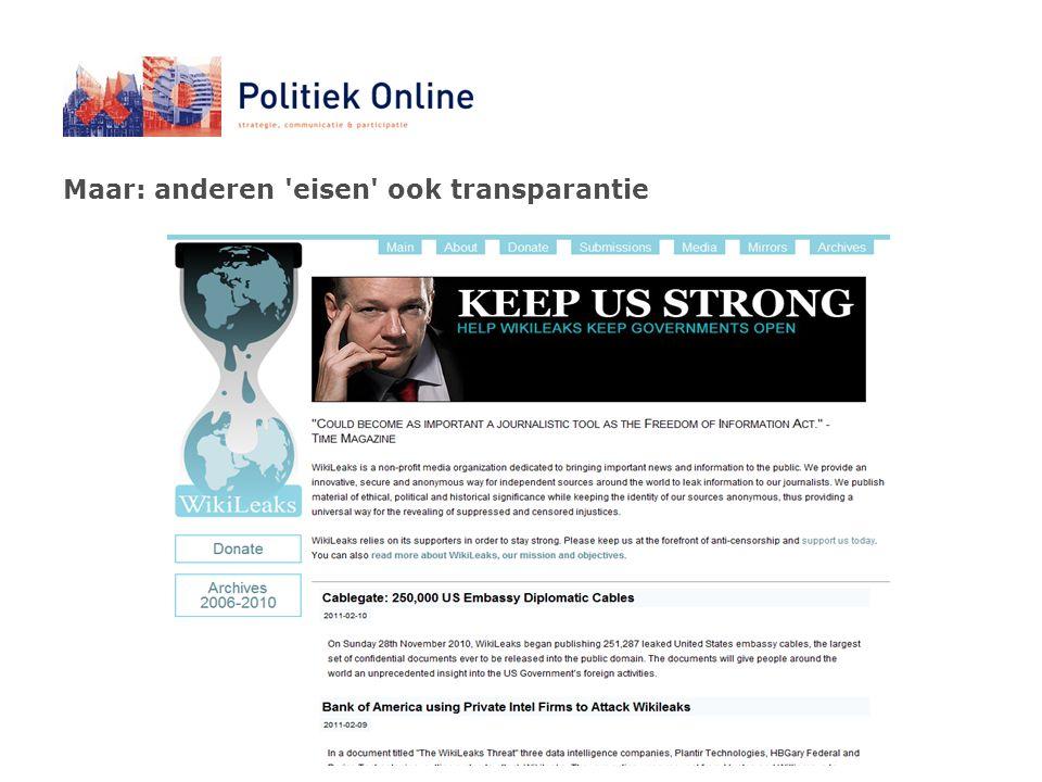 Maar: anderen eisen ook transparantie