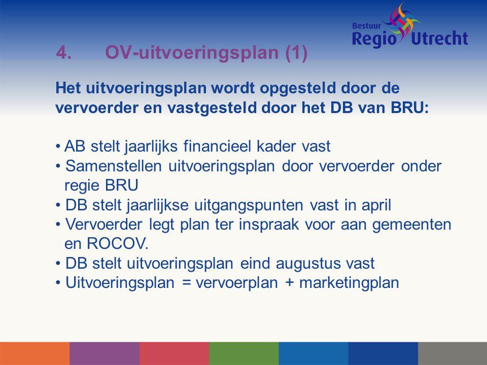 4.OV-uitvoeringsplan (1) Het uitvoeringsplan wordt opgesteld door de vervoerder en vastgesteld door het DB van BRU: AB stelt jaarlijks financieel kade