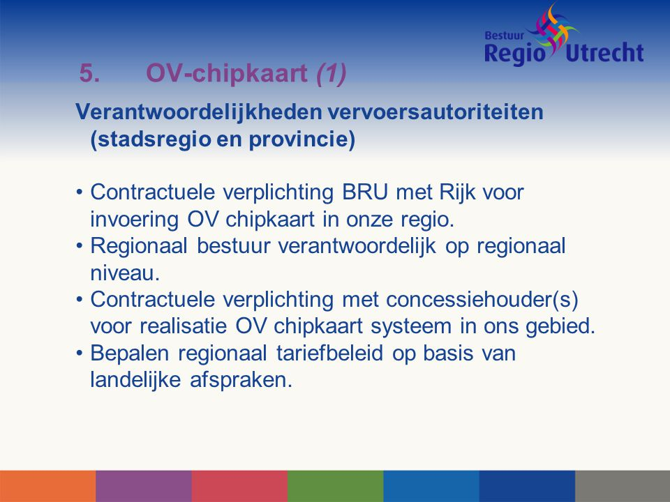 5.OV-chipkaart (1) Verantwoordelijkheden vervoersautoriteiten (stadsregio en provincie) Contractuele verplichting BRU met Rijk voor invoering OV chipk