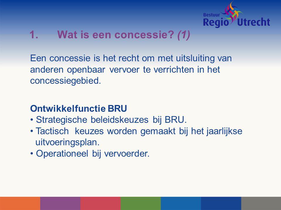 1.Wat is een concessie? (1) Een concessie is het recht om met uitsluiting van anderen openbaar vervoer te verrichten in het concessiegebied. Ontwikkel