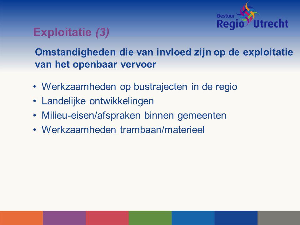 Omstandigheden die van invloed zijn op de exploitatie van het openbaar vervoer Werkzaamheden op bustrajecten in de regio Landelijke ontwikkelingen Mil