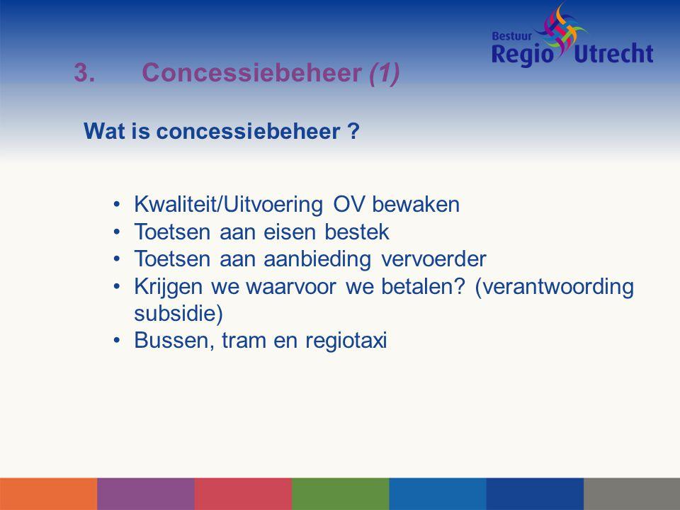 3.Concessiebeheer (1) Wat is concessiebeheer ? Kwaliteit/Uitvoering OV bewaken Toetsen aan eisen bestek Toetsen aan aanbieding vervoerder Krijgen we w