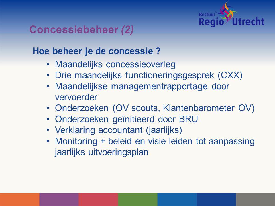 Concessiebeheer (2) Hoe beheer je de concessie ? Maandelijks concessieoverleg Drie maandelijks functioneringsgesprek (CXX) Maandelijkse managementrapp