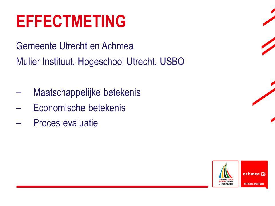 EFFECTMETING Gemeente Utrecht en Achmea Mulier Instituut, Hogeschool Utrecht, USBO – Maatschappelijke betekenis – Economische betekenis – Proces evalu