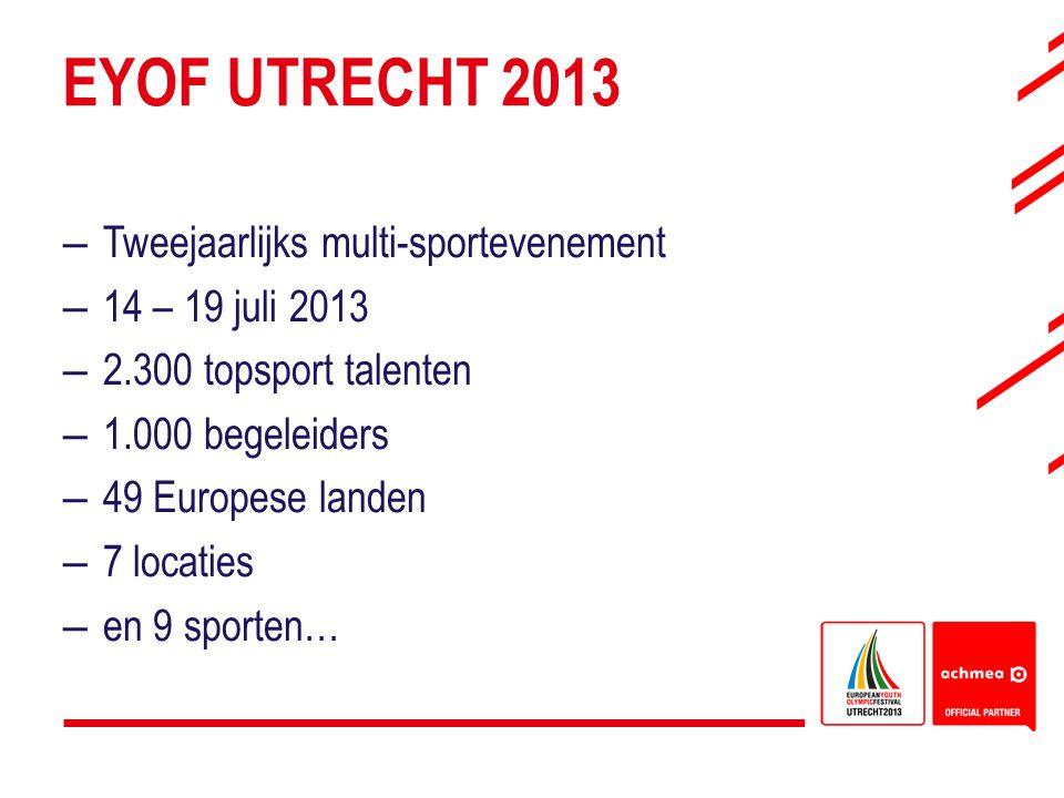 EYOF UTRECHT 2013 –Tweejaarlijks multi-sportevenement –14 – 19 juli 2013 –2.300 topsport talenten –1.000 begeleiders –49 Europese landen –7 locaties –