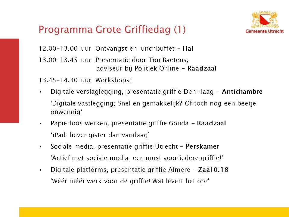 Programma Grote Griffiedag (1) 12.00-13.00 uur Ontvangst en lunchbuffet - Hal 13.00-13.45 uur Presentatie door Ton Baetens, adviseur bij Politiek Online - Raadzaal 13.45-14.30 uur Workshops: Digitale verslaglegging, presentatie griffie Den Haag - Antichambre Digitale vastlegging; Snel en gemakkelijk.
