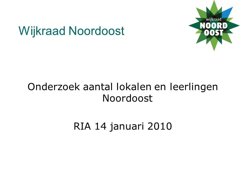 Wijkraad Noordoost Onderzoek aantal lokalen en leerlingen Noordoost RIA 14 januari 2010
