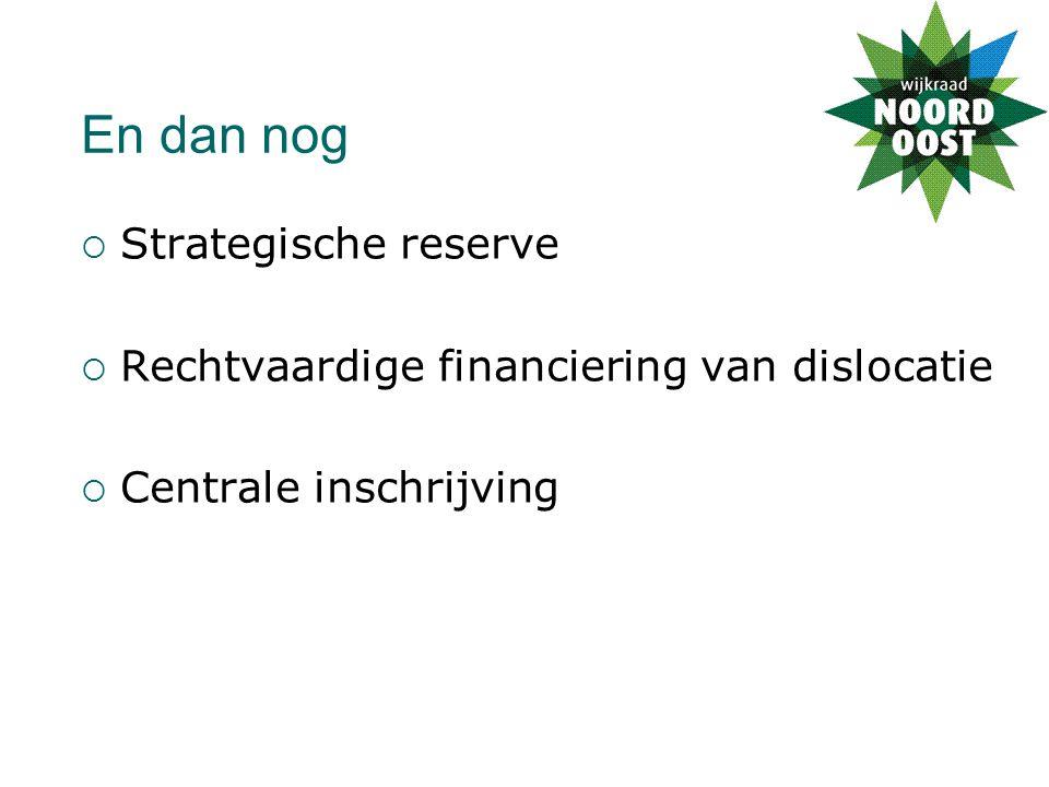 En dan nog  Strategische reserve  Rechtvaardige financiering van dislocatie  Centrale inschrijving
