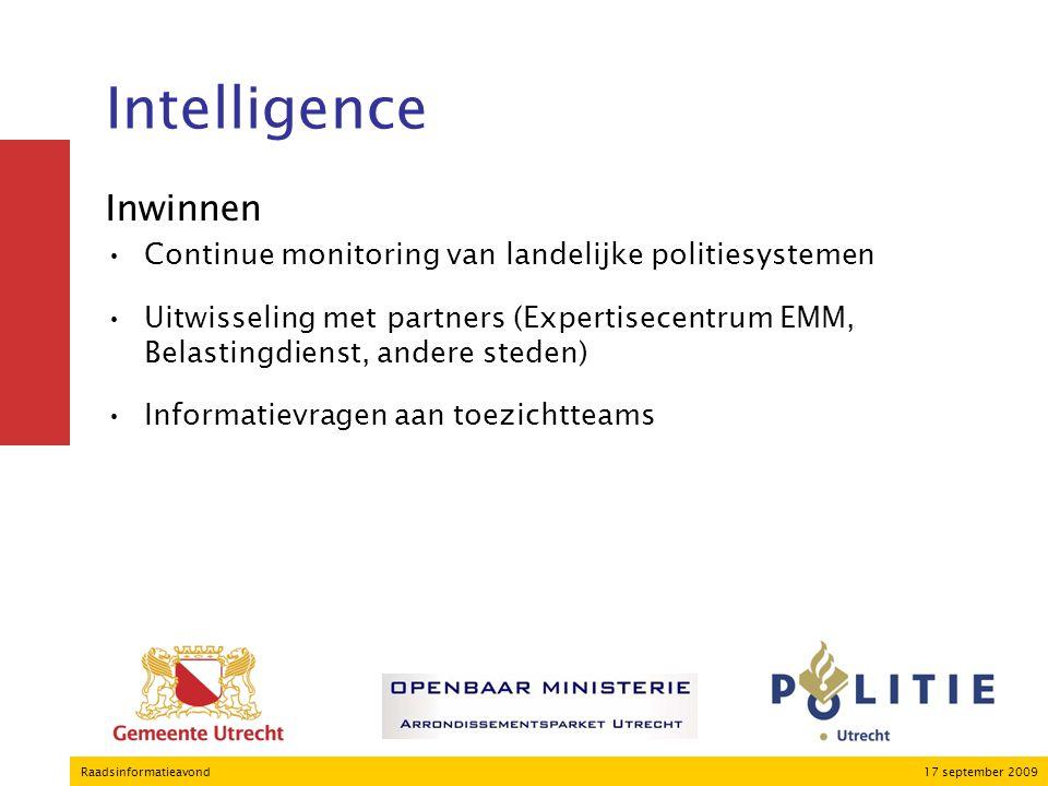 17 september 2009Raadsinformatieavond Intelligence Inwinnen Continue monitoring van landelijke politiesystemen Uitwisseling met partners (Expertisecentrum EMM, Belastingdienst, andere steden) Informatievragen aan toezichtteams