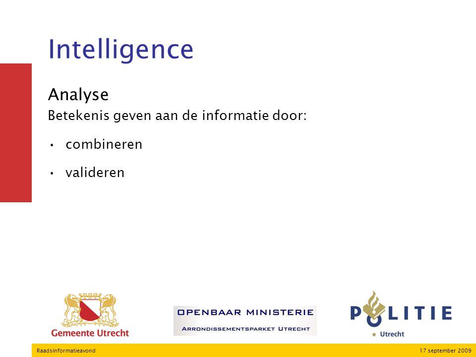 17 september 2009Raadsinformatieavond Intelligence Analyse Betekenis geven aan de informatie door: combineren valideren