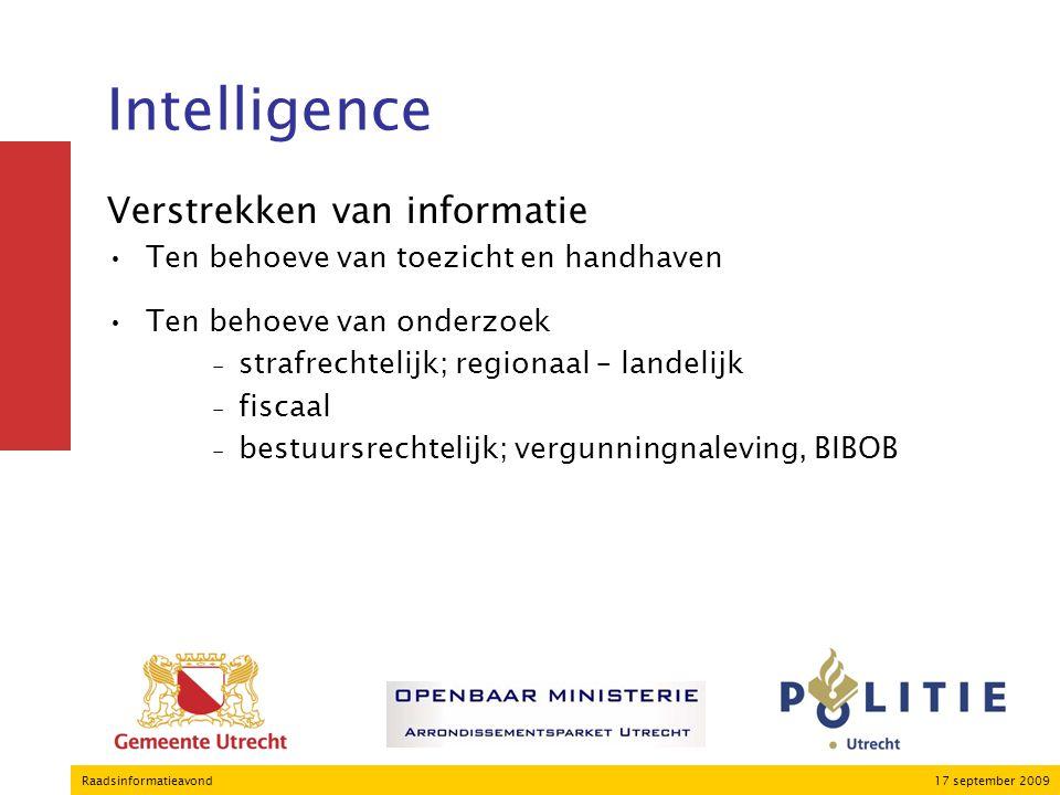 17 september 2009Raadsinformatieavond Intelligence Verstrekken van informatie Ten behoeve van toezicht en handhaven Ten behoeve van onderzoek ₋strafrechtelijk; regionaal – landelijk ₋fiscaal ₋bestuursrechtelijk; vergunningnaleving, BIBOB