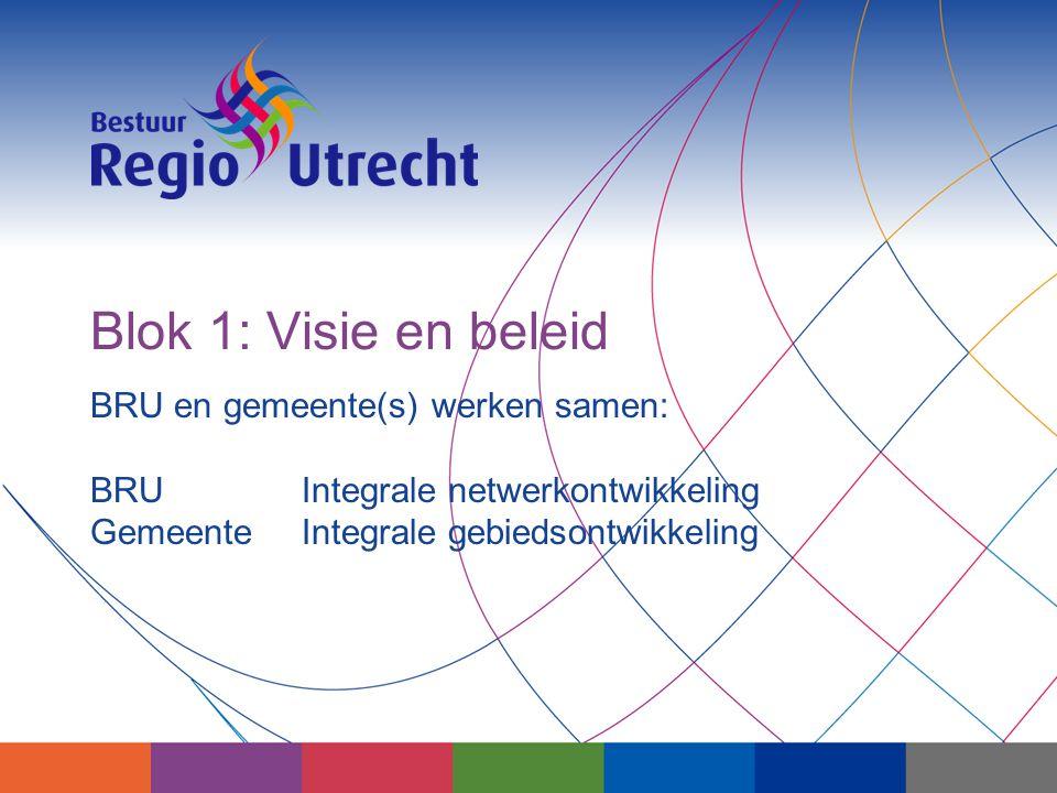 BRU en gemeente(s) werken samen: BRU Integrale netwerkontwikkeling GemeenteIntegrale gebiedsontwikkeling Blok 1: Visie en beleid