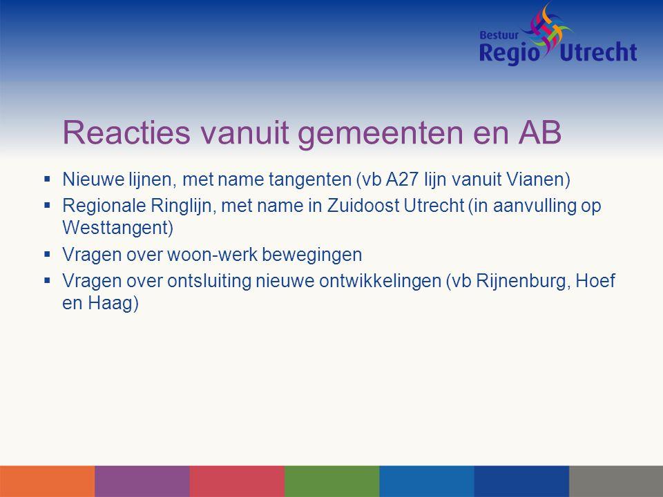 Reacties vanuit gemeenten en AB  Nieuwe lijnen, met name tangenten (vb A27 lijn vanuit Vianen)  Regionale Ringlijn, met name in Zuidoost Utrecht (in