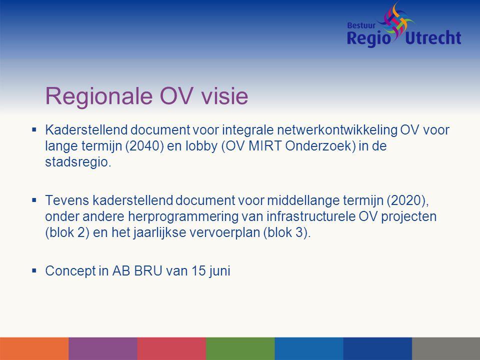 Regionale OV visie  Kaderstellend document voor integrale netwerkontwikkeling OV voor lange termijn (2040) en lobby (OV MIRT Onderzoek) in de stadsre