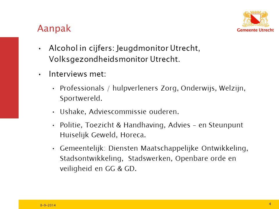 Aanpak Alcohol in cijfers: Jeugdmonitor Utrecht, Volksgezondheidsmonitor Utrecht.