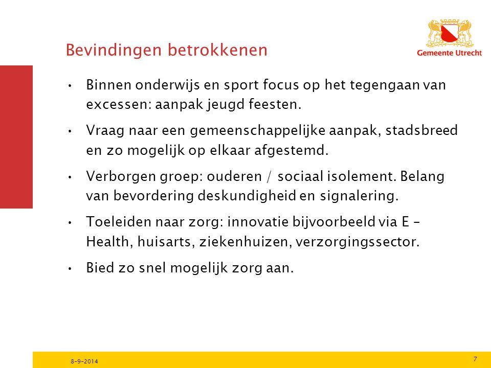 Bevindingen betrokkenen Binnen onderwijs en sport focus op het tegengaan van excessen: aanpak jeugd feesten.