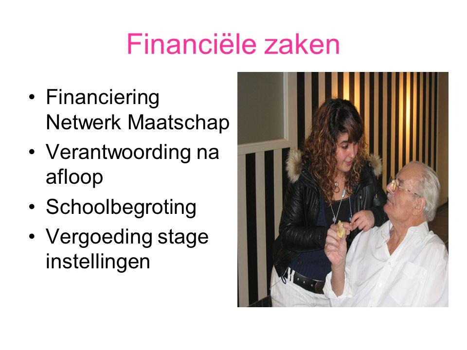 Financiële zaken Financiering Netwerk Maatschap Verantwoording na afloop Schoolbegroting Vergoeding stage instellingen