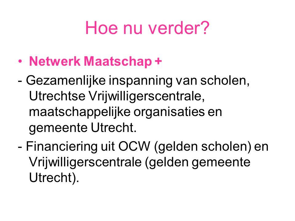 Hoe nu verder? Netwerk Maatschap + - Gezamenlijke inspanning van scholen, Utrechtse Vrijwilligerscentrale, maatschappelijke organisaties en gemeente U
