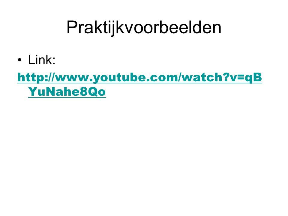 Praktijkvoorbeelden Link: http://www.youtube.com/watch?v=qB YuNahe8Qo