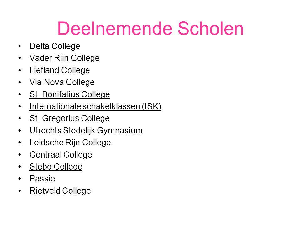 Deelnemende Scholen Delta College Vader Rijn College Liefland College Via Nova College St. Bonifatius College Internationale schakelklassen (ISK) St.