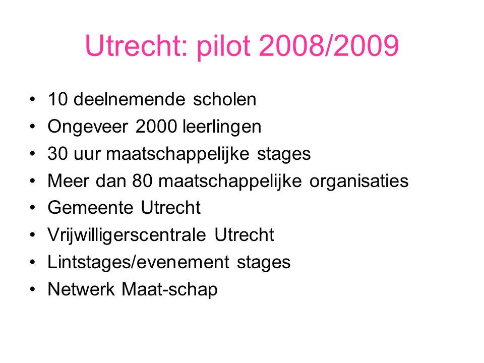 Utrecht: pilot 2008/2009 10 deelnemende scholen Ongeveer 2000 leerlingen 30 uur maatschappelijke stages Meer dan 80 maatschappelijke organisaties Geme