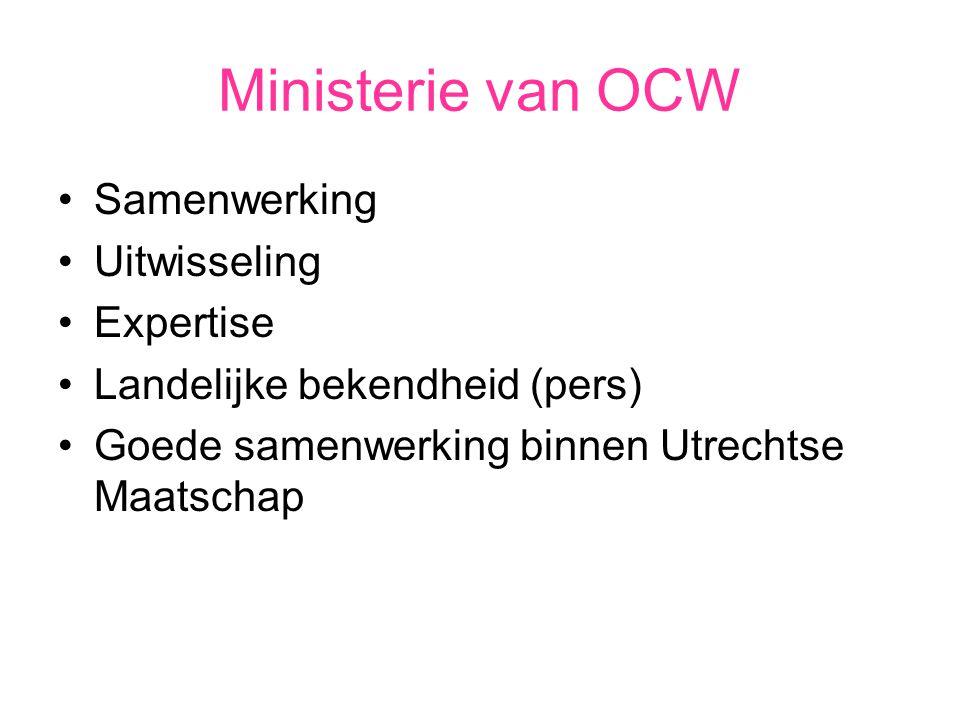 Ministerie van OCW Samenwerking Uitwisseling Expertise Landelijke bekendheid (pers) Goede samenwerking binnen Utrechtse Maatschap
