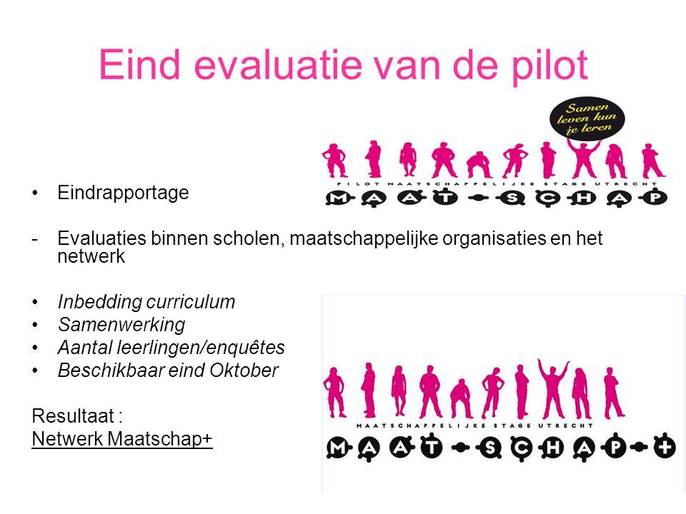 Eind evaluatie van de pilot Eindrapportage -Evaluaties binnen scholen, maatschappelijke organisaties en het netwerk Inbedding curriculum Samenwerking