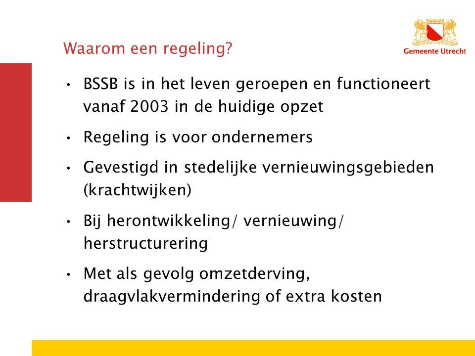 Waarom een regeling? BSSB is in het leven geroepen en functioneert vanaf 2003 in de huidige opzet Regeling is voor ondernemers Gevestigd in stedelijke