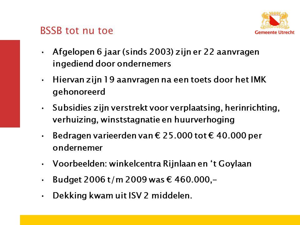 BSSB tot nu toe Afgelopen 6 jaar (sinds 2003) zijn er 22 aanvragen ingediend door ondernemers Hiervan zijn 19 aanvragen na een toets door het IMK geho