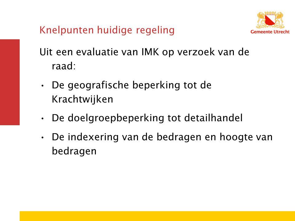 Knelpunten huidige regeling Uit een evaluatie van IMK op verzoek van de raad: De geografische beperking tot de Krachtwijken De doelgroepbeperking tot