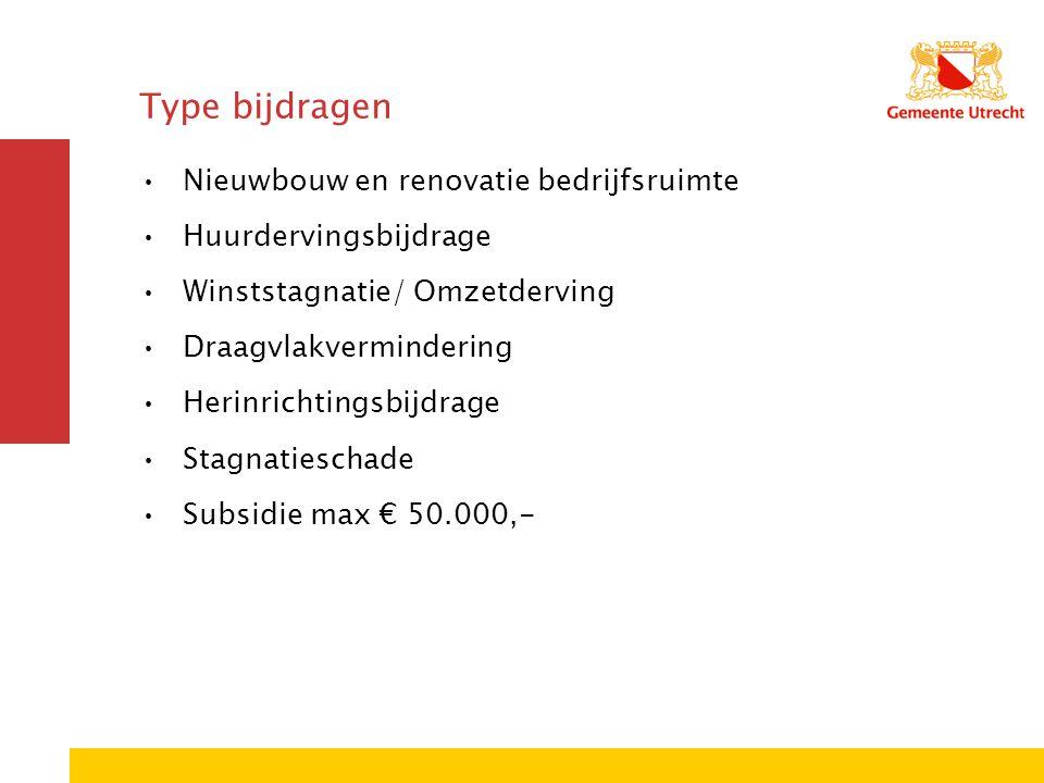 Type bijdragen Nieuwbouw en renovatie bedrijfsruimte Huurdervingsbijdrage Winststagnatie/ Omzetderving Draagvlakvermindering Herinrichtingsbijdrage St