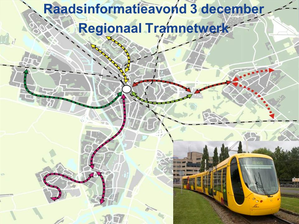Doorkoppeling tramverbindingen (transversale lijnen) Vervoerkundig 20-30% reizigers moet in binnenstad zijn: doorkoppeling trams uit N'gein en Leidsche Rijn (west) naar binnenstad (oost) In toenemende mate willen reizigers uit Oost naar economische kerngebieden langs A12 en A2 (west) 60-70% reizigers moet in OV-terminal zijn (radiaal) Inpasbaarheid Ruimtebeslag in OVT: bij voorkeur geen eindigende trams Exploitatie Doorkoppeling goedkoper in exploitatie