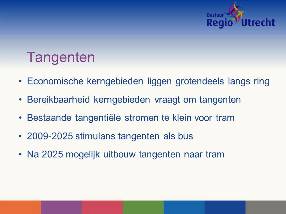Tangenten Economische kerngebieden liggen grotendeels langs ring Bereikbaarheid kerngebieden vraagt om tangenten Bestaande tangentiële stromen te klein voor tram 2009-2025 stimulans tangenten als bus Na 2025 mogelijk uitbouw tangenten naar tram