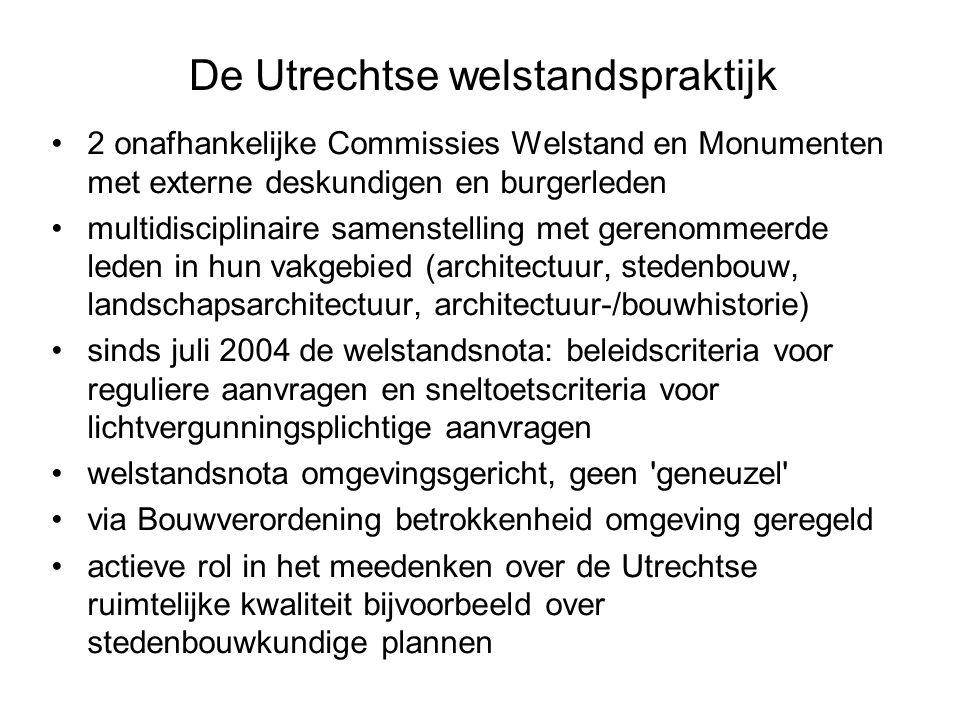 De Utrechtse welstandspraktijk 2 onafhankelijke Commissies Welstand en Monumenten met externe deskundigen en burgerleden multidisciplinaire samenstelling met gerenommeerde leden in hun vakgebied (architectuur, stedenbouw, landschapsarchitectuur, architectuur-/bouwhistorie) sinds juli 2004 de welstandsnota: beleidscriteria voor reguliere aanvragen en sneltoetscriteria voor lichtvergunningsplichtige aanvragen welstandsnota omgevingsgericht, geen geneuzel via Bouwverordening betrokkenheid omgeving geregeld actieve rol in het meedenken over de Utrechtse ruimtelijke kwaliteit bijvoorbeeld over stedenbouwkundige plannen