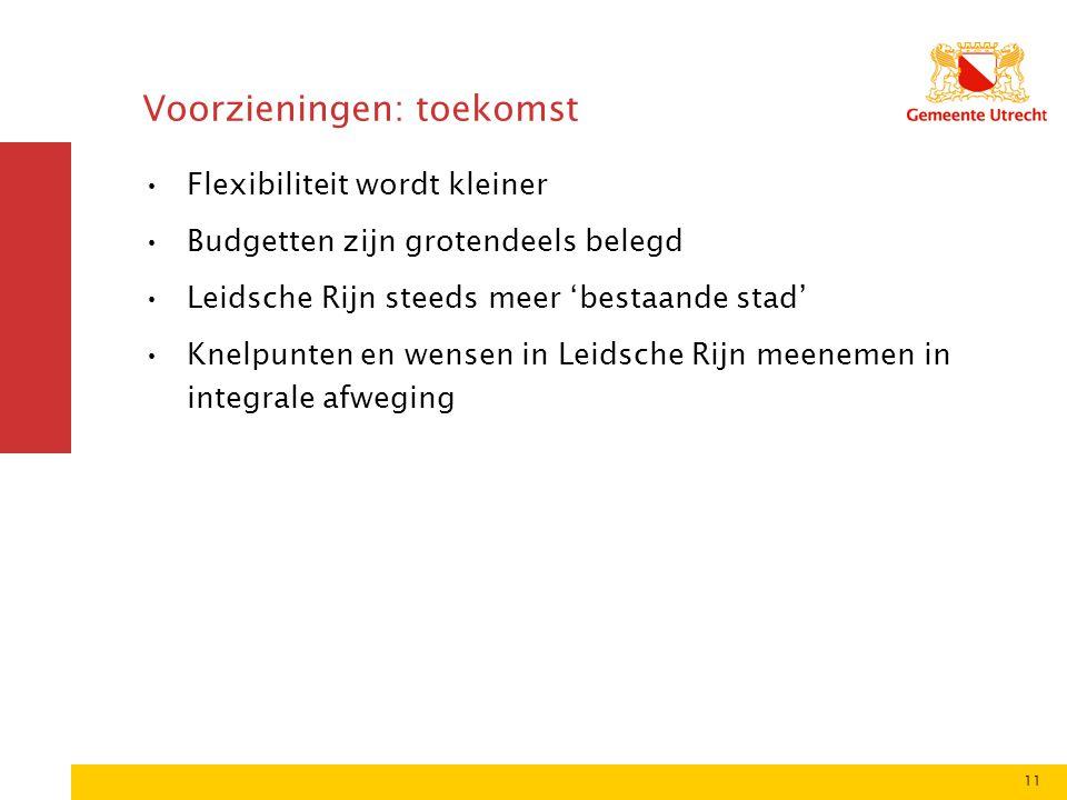 11 Voorzieningen: toekomst Flexibiliteit wordt kleiner Budgetten zijn grotendeels belegd Leidsche Rijn steeds meer 'bestaande stad' Knelpunten en wensen in Leidsche Rijn meenemen in integrale afweging