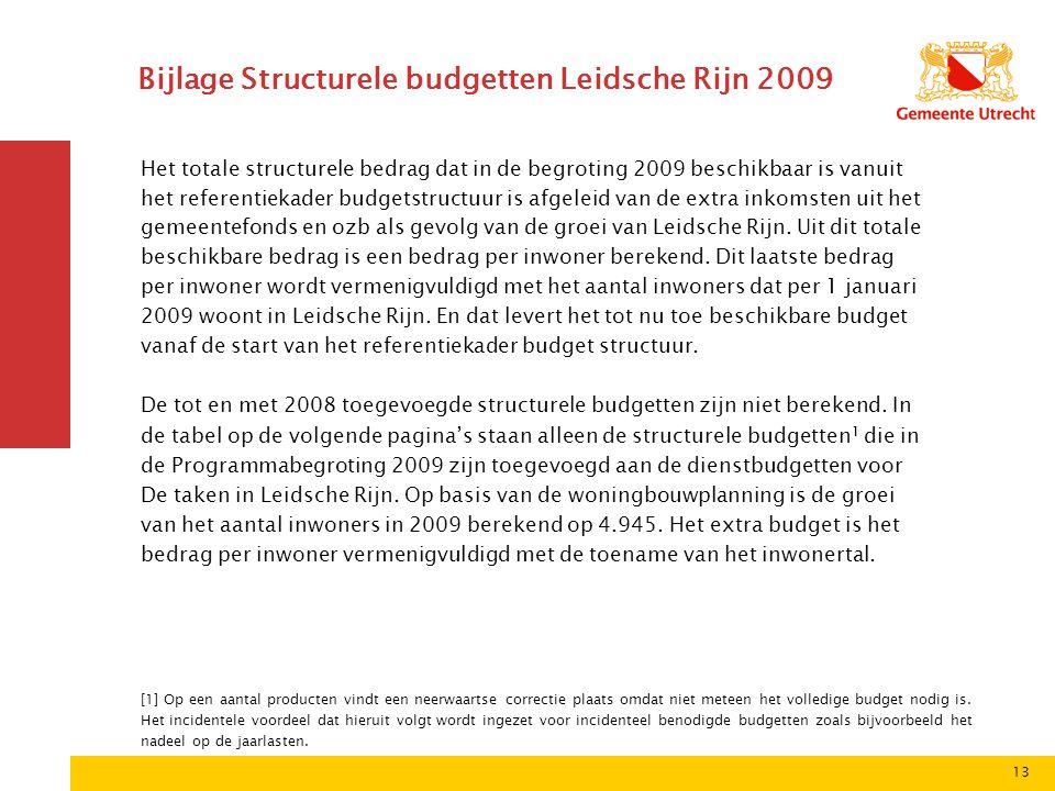 13 Bijlage Structurele budgetten Leidsche Rijn 2009 Het totale structurele bedrag dat in de begroting 2009 beschikbaar is vanuit het referentiekader budgetstructuur is afgeleid van de extra inkomsten uit het gemeentefonds en ozb als gevolg van de groei van Leidsche Rijn.