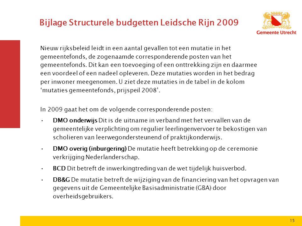 15 Bijlage Structurele budgetten Leidsche Rijn 2009 Nieuw rijksbeleid leidt in een aantal gevallen tot een mutatie in het gemeentefonds, de zogenaamde corresponderende posten van het gemeentefonds.