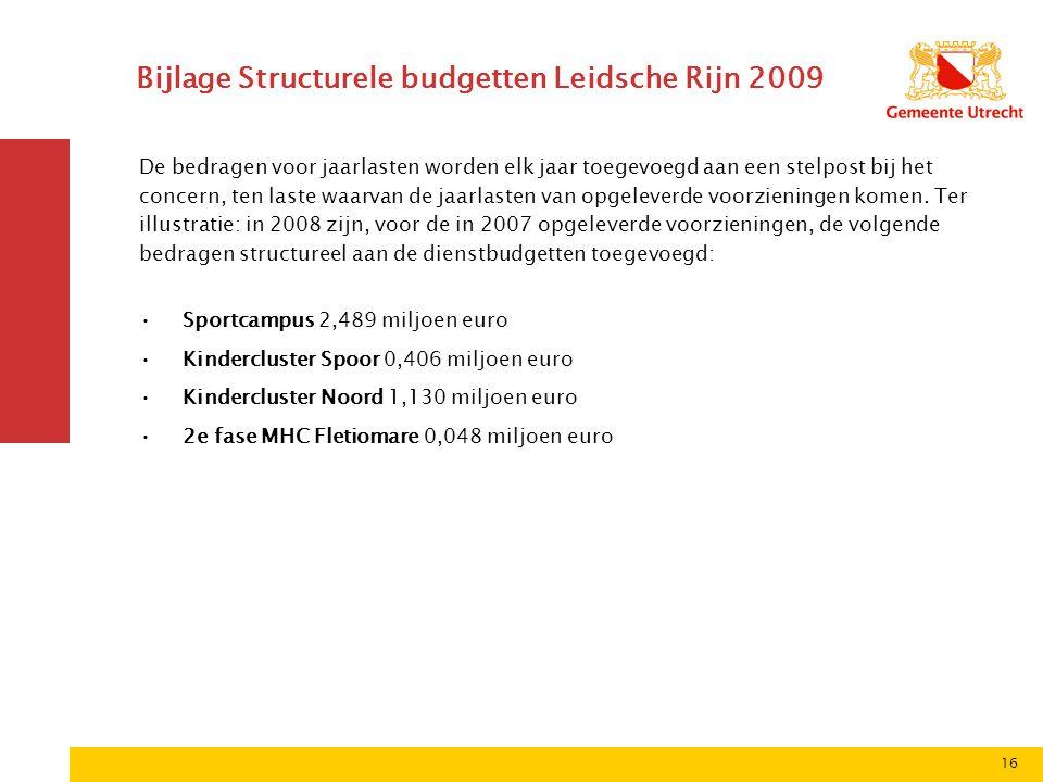 16 Bijlage Structurele budgetten Leidsche Rijn 2009 De bedragen voor jaarlasten worden elk jaar toegevoegd aan een stelpost bij het concern, ten laste waarvan de jaarlasten van opgeleverde voorzieningen komen.
