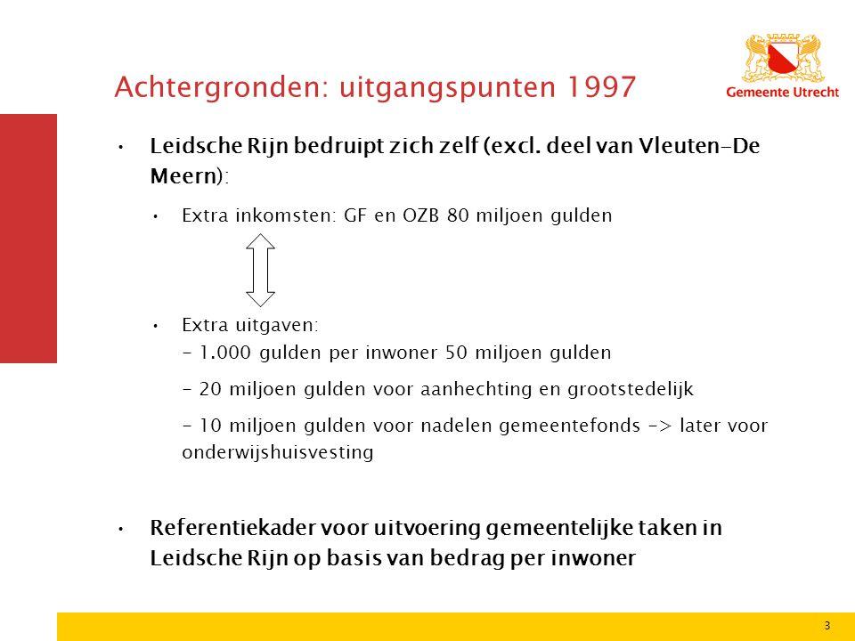 3 Achtergronden: uitgangspunten 1997 Leidsche Rijn bedruipt zich zelf (excl.