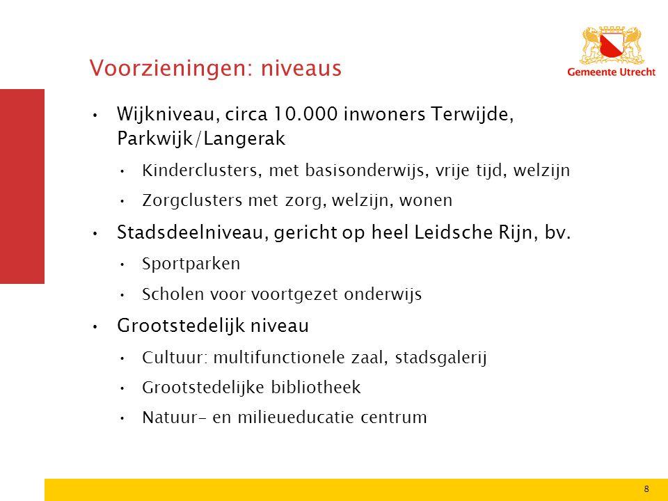 8 Voorzieningen: niveaus Wijkniveau, circa 10.000 inwoners Terwijde, Parkwijk/Langerak Kinderclusters, met basisonderwijs, vrije tijd, welzijn Zorgclusters met zorg, welzijn, wonen Stadsdeelniveau, gericht op heel Leidsche Rijn, bv.
