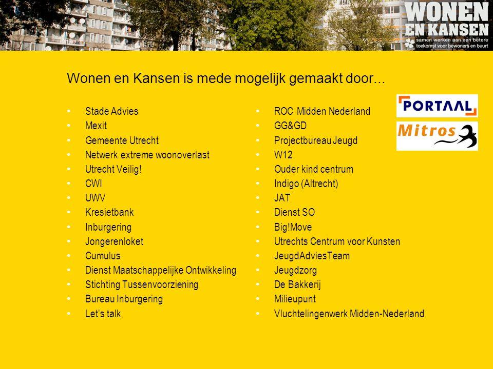 Wonen en Kansen is mede mogelijk gemaakt door... Stade Advies Mexit Gemeente Utrecht Netwerk extreme woonoverlast Utrecht Veilig! CWI UWV Kresietbank