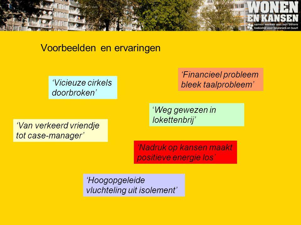 Voorbeelden en ervaringen 'Vicieuze cirkels doorbroken' 'Financieel probleem bleek taalprobleem' 'Van verkeerd vriendje tot case-manager' 'Weg gewezen