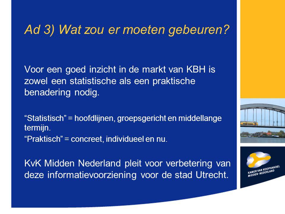 """Ad 3) Wat zou er moeten gebeuren? Voor een goed inzicht in de markt van KBH is zowel een statistische als een praktische benadering nodig. """"Statistisc"""