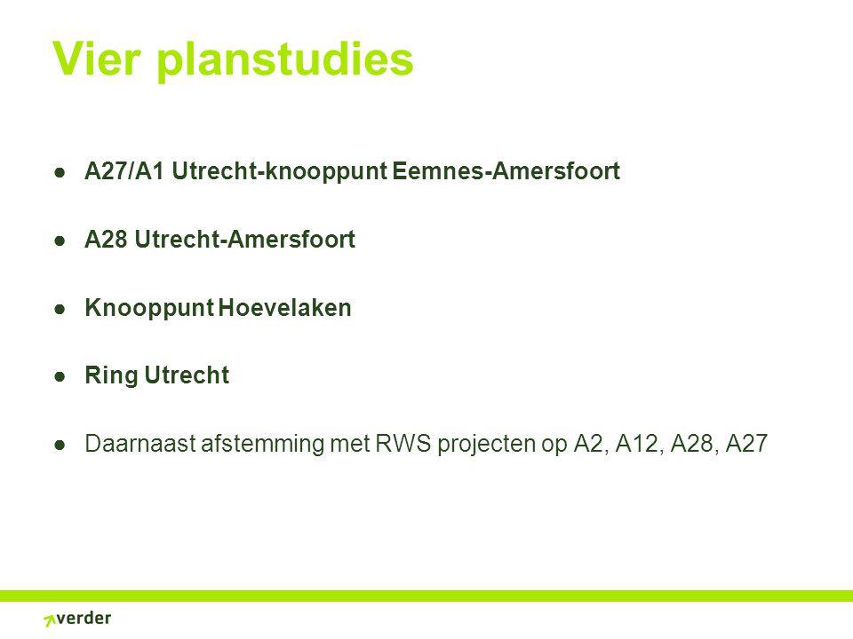 Vier planstudies ●A27/A1 Utrecht-knooppunt Eemnes-Amersfoort ●A28 Utrecht-Amersfoort ●Knooppunt Hoevelaken ●Ring Utrecht ●Daarnaast afstemming met RWS projecten op A2, A12, A28, A27