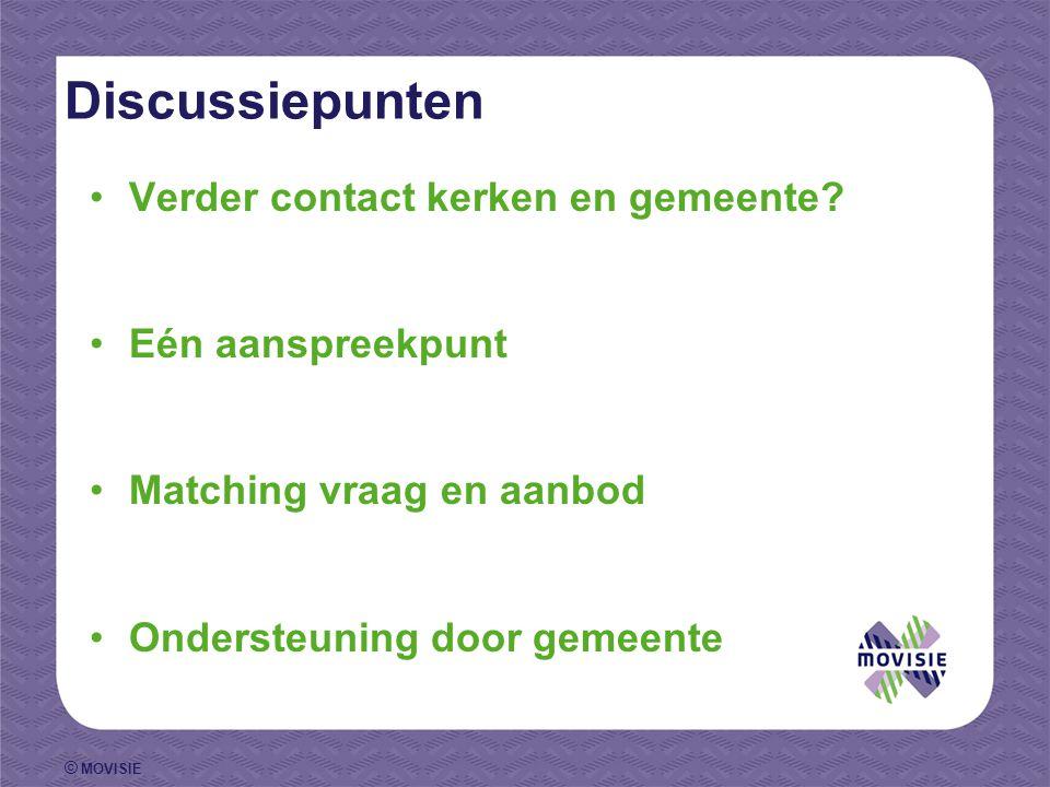 © MOVISIE Discussiepunten Verder contact kerken en gemeente.