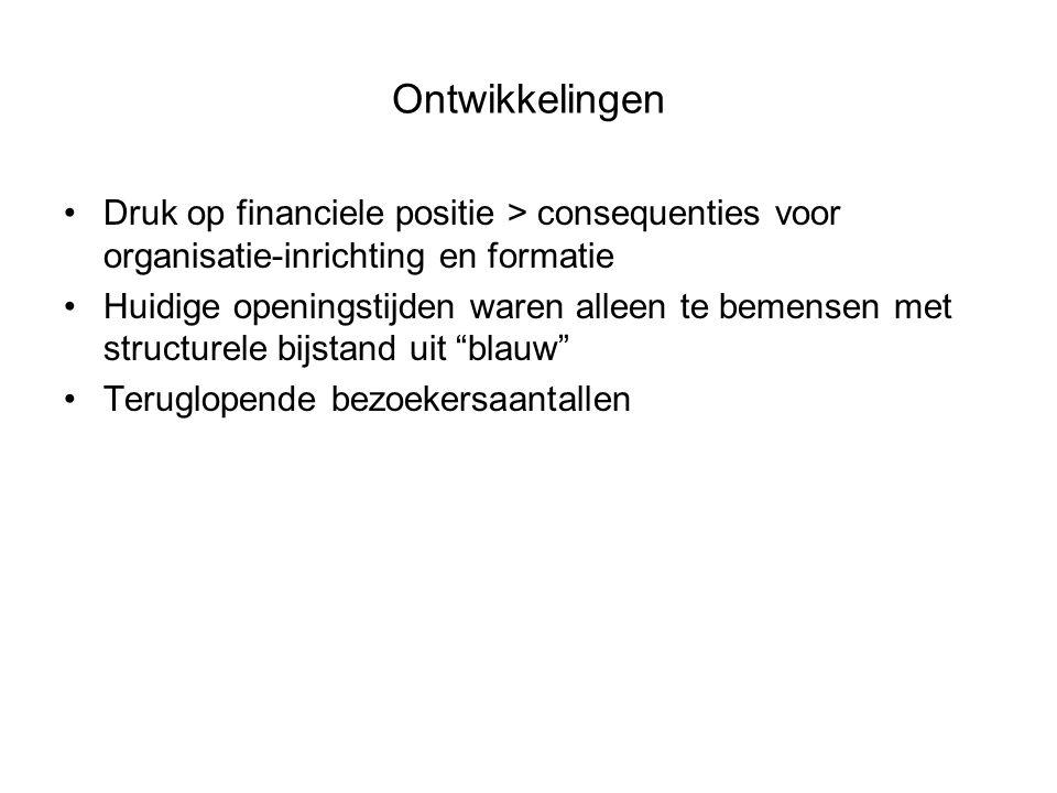 Ontwikkelingen Druk op financiele positie > consequenties voor organisatie-inrichting en formatie Huidige openingstijden waren alleen te bemensen met structurele bijstand uit blauw Teruglopende bezoekersaantallen
