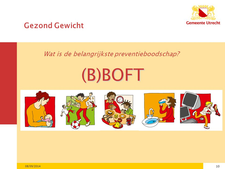 10 08/09/2014 Gezond Gewicht Wat is de belangrijkste preventieboodschap? (B)BOFT